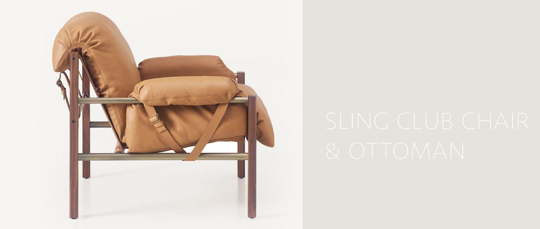 Surprising Bassamfellows Sling Club Chair And Ottoman Spiritservingveterans Wood Chair Design Ideas Spiritservingveteransorg